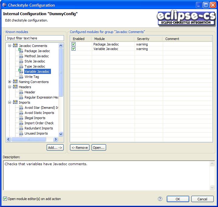 Eclipse Checkstyle Plugin
