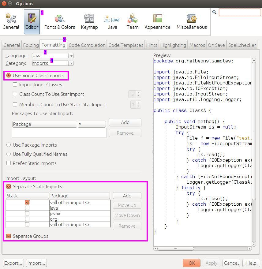Organize Imports settings in NetBeans